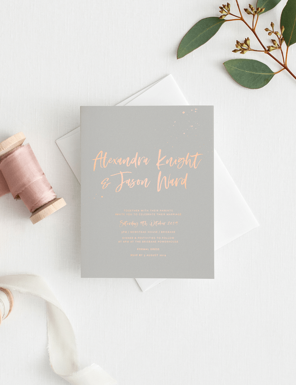 Wedding invite card grey with pink letters