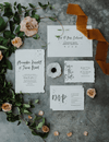 wedding invitations, rsvp, wedding menu