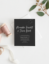Wedding invite card black with white ink