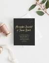 Wedding invite card black with gold letters
