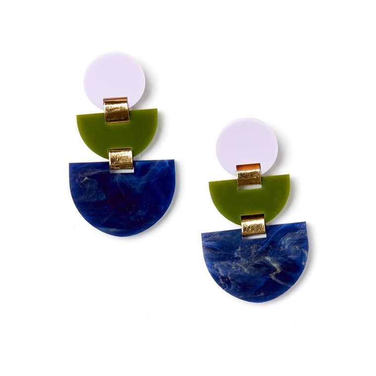 Boat Earrings - Lilac and Olive
