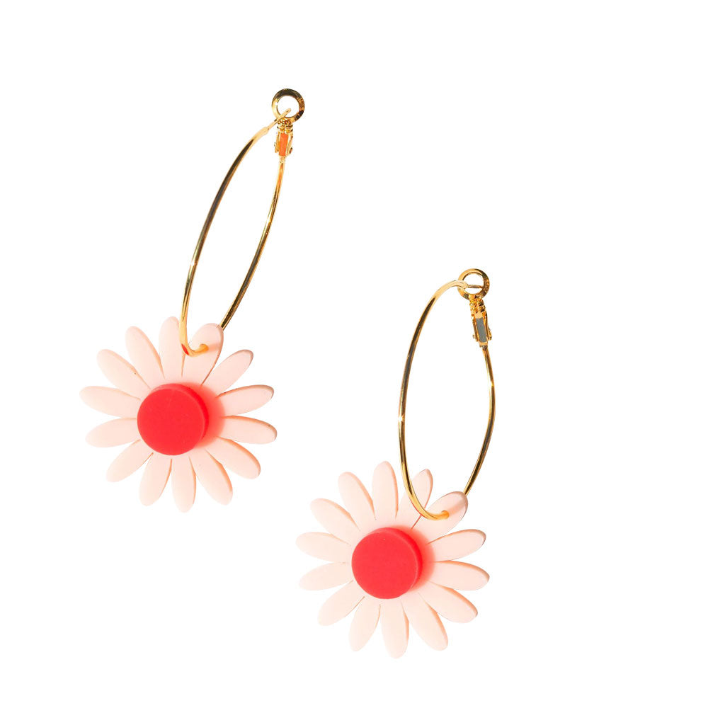 Daisy Earrings - Red and Pink