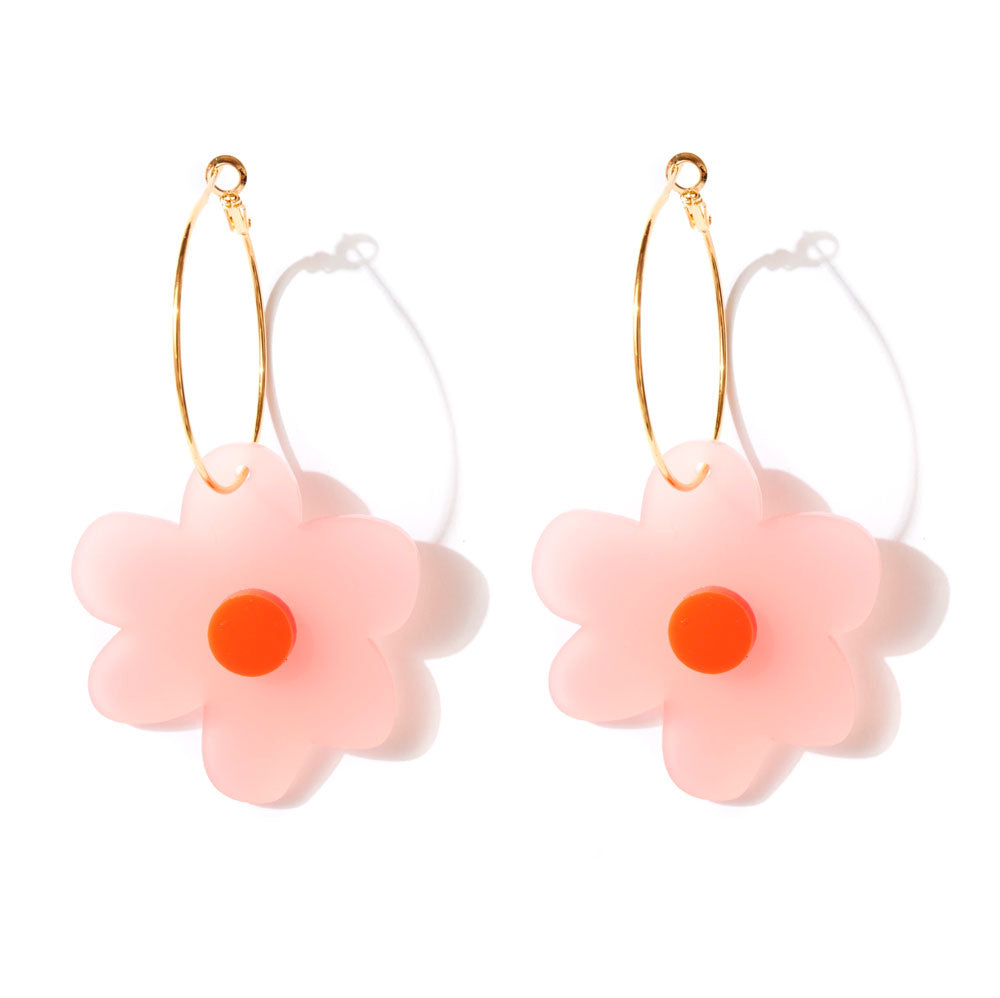 Flower Power Earrings - Frosted Pink and Neon Red