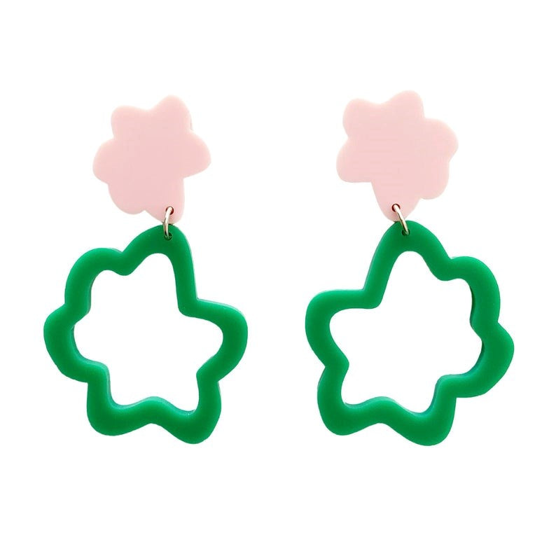 Fluffy Drop Earrings - Pink and Green