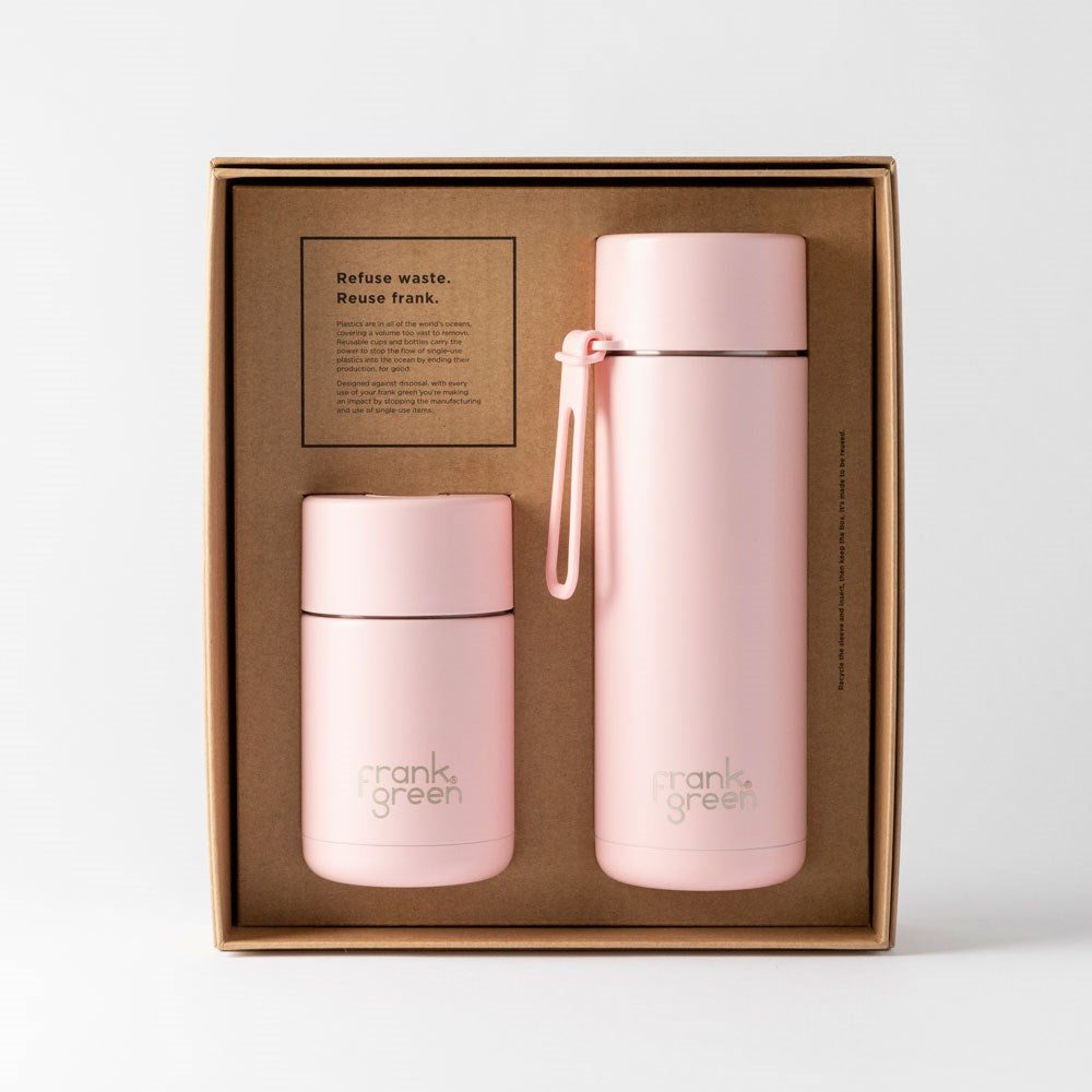 Blushed Ceramic Reusable Cup and Bottle Gift Set
