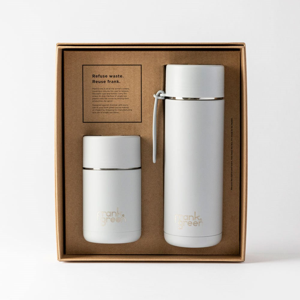 Harbor Mist Ceramic Reusable Cup and Bottle Gift Set