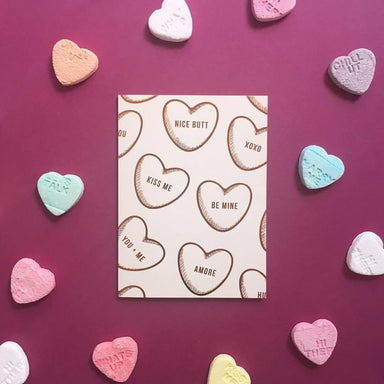 Conversation Hearts Greeting Card | Blushing Confetti