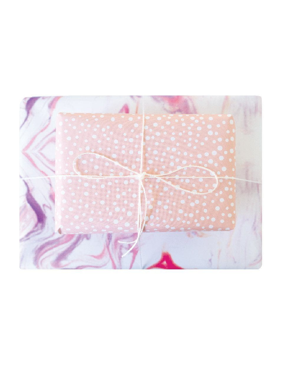 Double Sided Wrapping Paper 3PK: Marbled Polka Dots | Blushing Confetti
