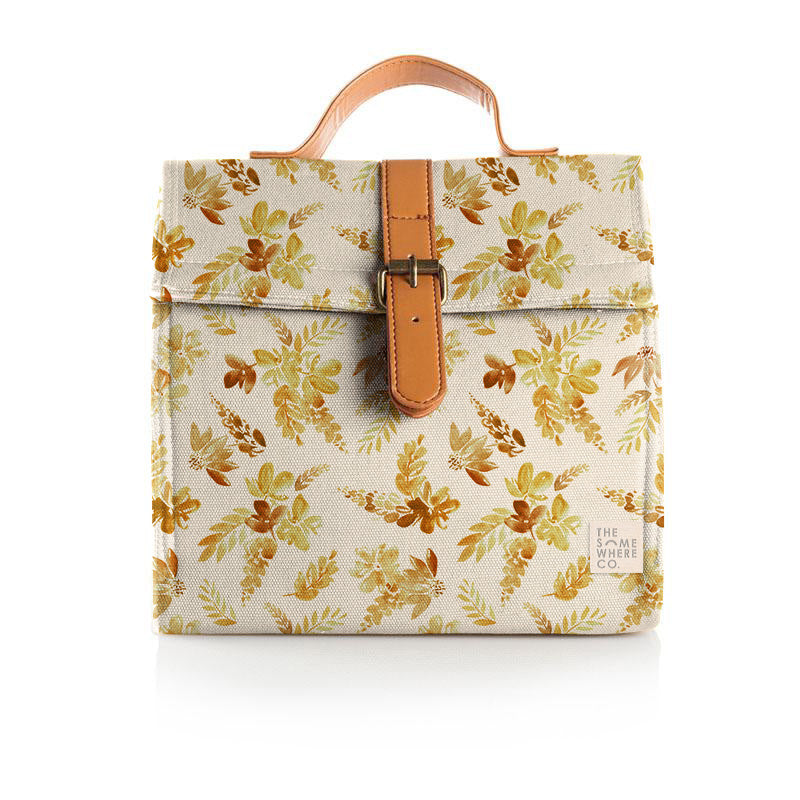 Mustard Floral Lunch Satchel