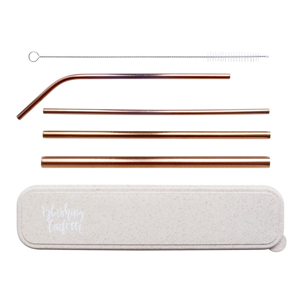 On The Go Straw Set - Rose Gold