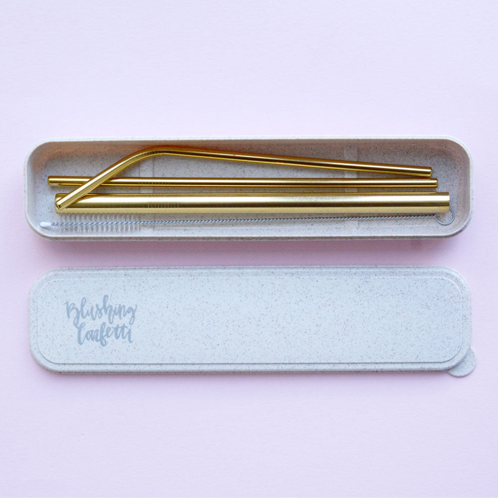 On The Go Straw Set - Gold