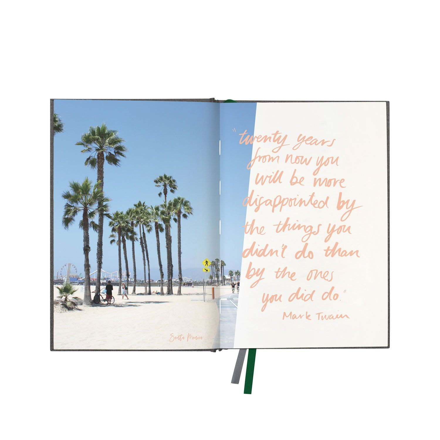 "Charcoal Linen Travel Journal ""Where to Beautiful"""