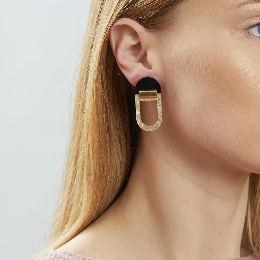 U Hoop Earrings - Black and Oyster