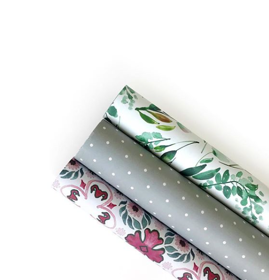 Double Sided Wrapping Paper 3PK: Pink Floral