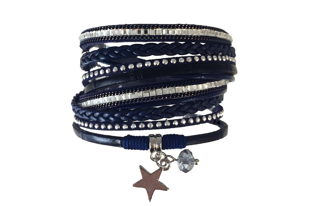 Coypu Navy Faux Leather Magnetic Clasp Double Bracelet from Boho Betty - Zarabelle