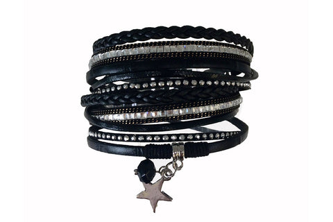 Lemming Black Faux Leather Magnetic Clasp Double Bracelet from Boho Betty - Zarabelle