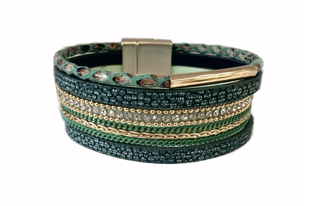 Paca Green Faux Leather Magnetic Clasp Double Bracelet from Boho Betty - Zarabelle