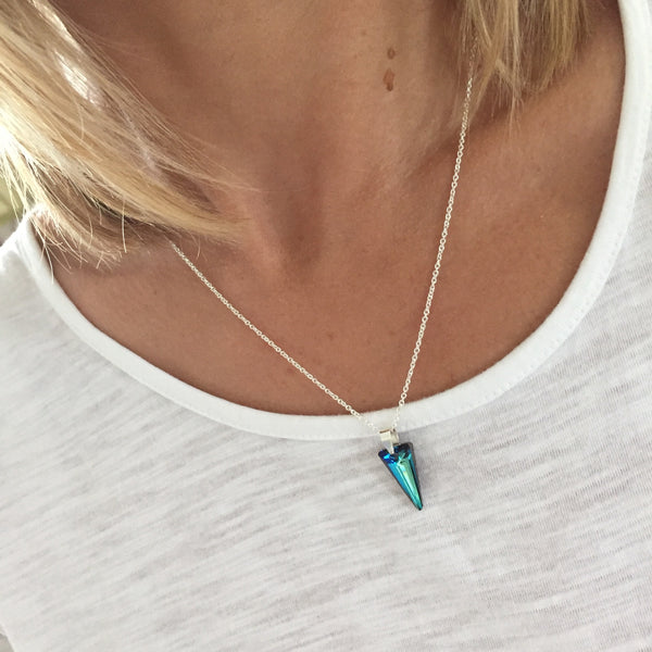 Silver Vibrant Blue Spike Pendant Necklace with Swarovski Crystal