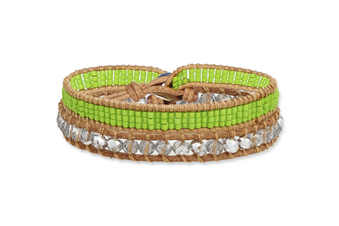Lenner  Double Wrap Green Beaded Bracelet from Boho Betty - Zarabelle