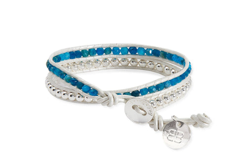 Andromeda White Leather Double Wrap Bracelet