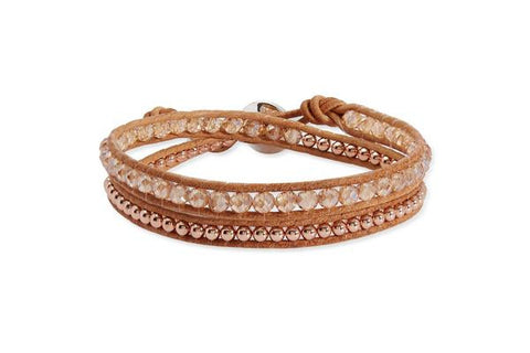 Aries Tan Leather Rose Gold Double Wrap Bracelet from Boho Betty - Zarabelle