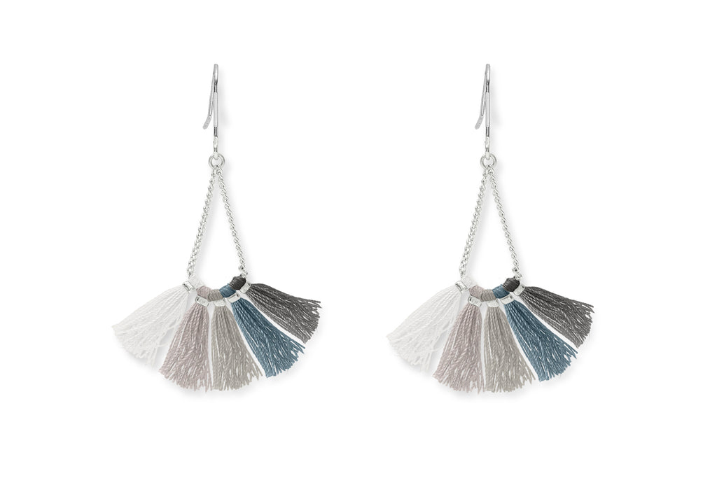 Baiji Silver Ombre Tassel Earrings from Boho Betty - Zarabelle