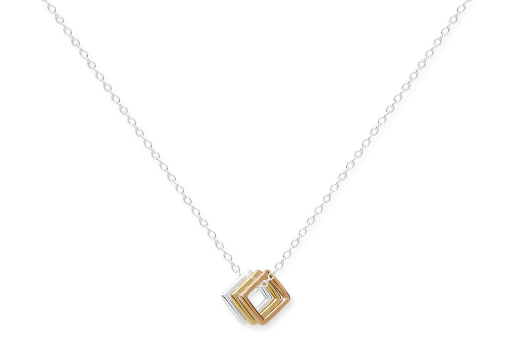 Banylus Sterling Silver Necklace with 3 Squares from Boho Betty - Zarabelle