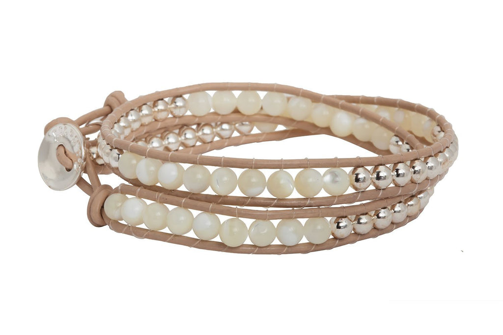 Glampagne Shine Taupe/Moonstone Double Wrap Bracelet from Boho Betty - Zarabelle