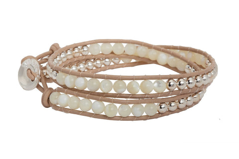 Glampagne Shine Taupe/Moonstone Double Wrap Bracelet