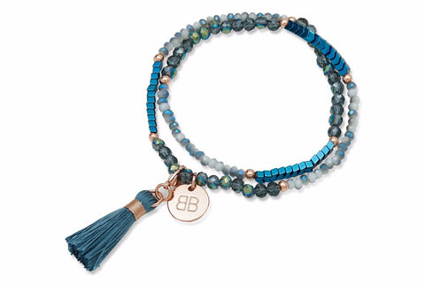 Gorse Blue Crystal Tasseled Wrap Bracelet