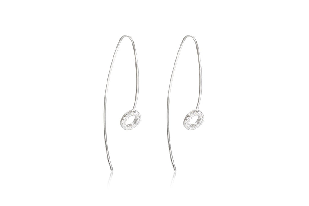 Kelly Sterling Silver Thread Through Earrings with Cubic Zirconia from Boho Betty - Zarabelle