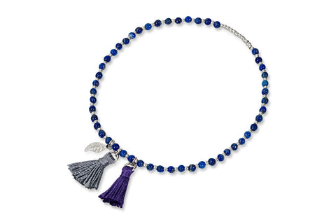 Manna Blue and Silver Beaded Tassel Bracelet