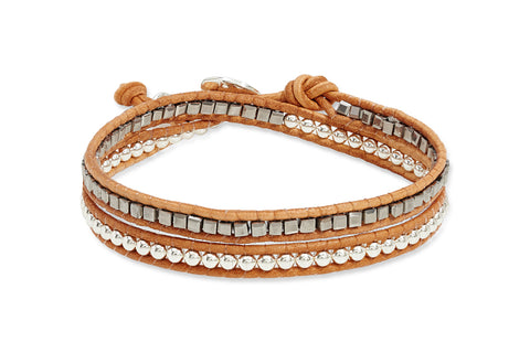 Outhaul Tan Leather Double Wrap Bracelet from Boho Betty - Zarabelle