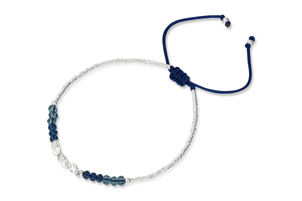 Perdita Blue Crystal Friendship Bracelet from Boho Betty - Zarabelle