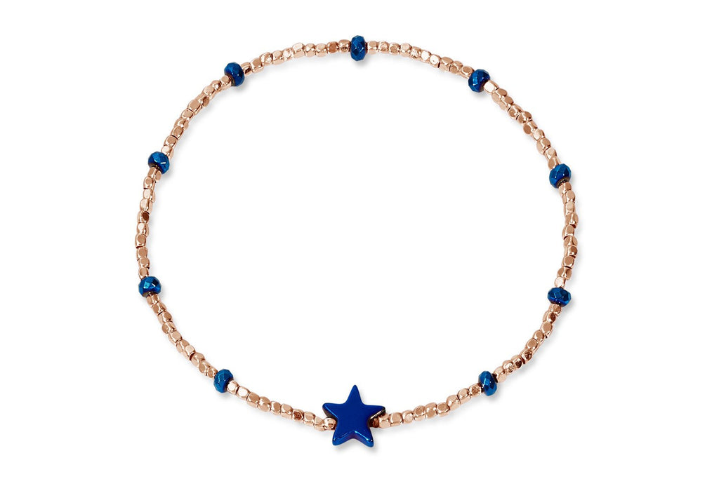 Portia Rose Gold and Blue Beaded Star Bracelet from Boho Betty - Zarabelle