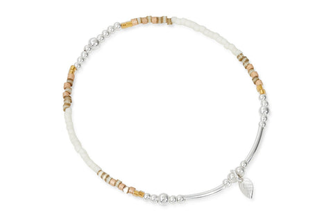 Prometheus Sterling Silver Leaf Beaded Bracelet from Boho Betty - Zarabelle