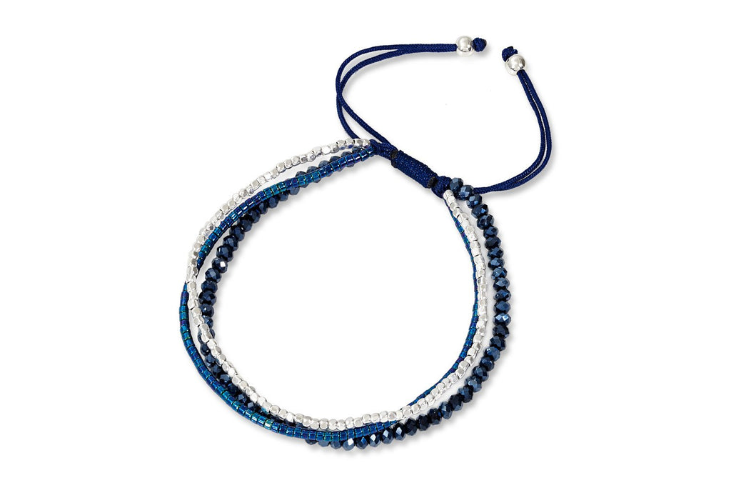 Rhea Blue Beaded Three Strand Friendship Bracelet from Boho Betty - Zarabelle