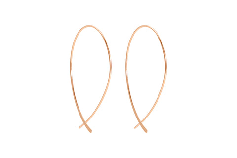 Bellucci Rose Gold Thread Through Earrings with Curved Bar from Boho Betty - Zarabelle