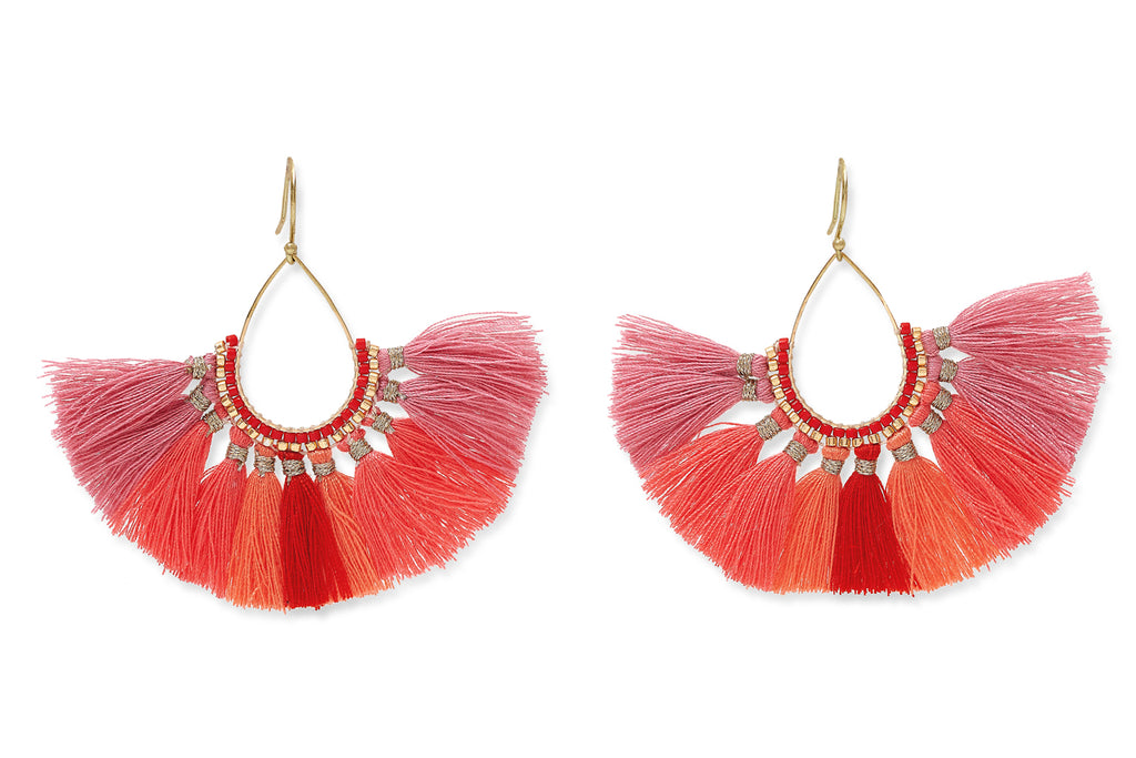 Beluga Coral Ombre Fan Tassel Earrings from Boho Betty - Zarabelle