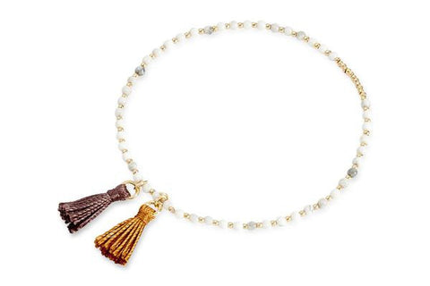 Bonnaroo White Beaded Tassel Stretch Bracelet