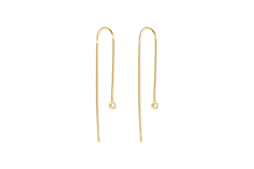 Brunello Gold Sterling Silver Thread Through Earrings with Crystal from Boho Betty - Zarabelle