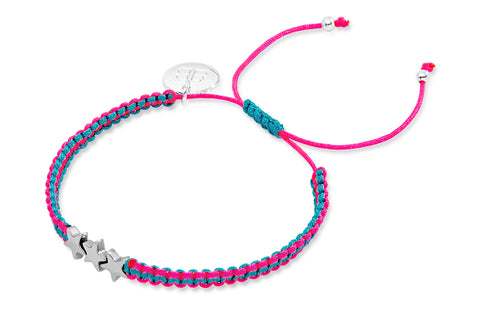 Chromis Fluoro Pink Star Friendship Style Bracelet from Boho Betty - Zarabelle