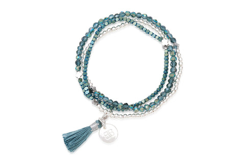 Clover Metallic Blue Tassel Bracelet from Boho Betty - Zarabelle