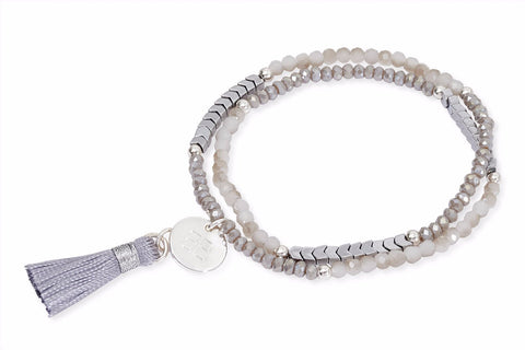 Daffodil Light Grey Crystal Tasseled Wrap Bracelet