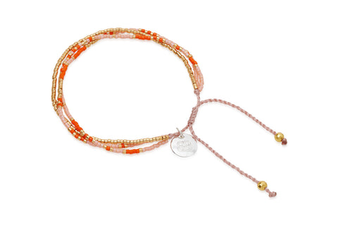 Dizzy Orange Japanese Beaded Friendship Bracelet from Boho Betty - Zarabelle