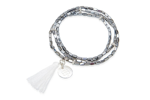 Dove Crystal Silver Tassel Bracelet from Boho Betty - Zarabelle