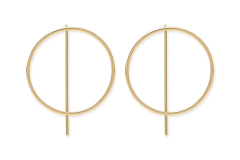 Emmanuel Gold Sterling Silver Circle Thread Earrings from Boho Betty - Zarabelle
