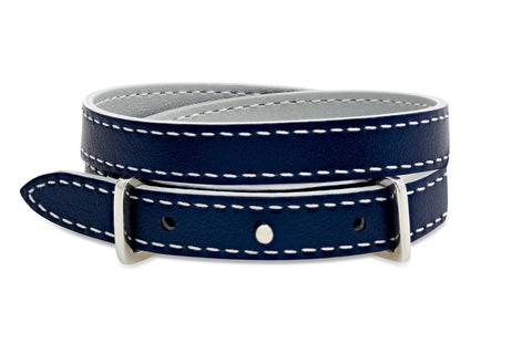 Fir Metallic Navy and Grey Double Wrap Reversible Leather Buckle Bracelet from Boho Betty - Zarabelle