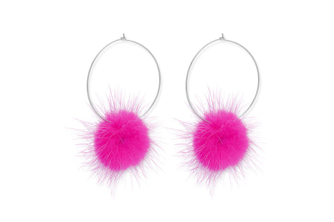 Geoduck Pink Hoop Pompom Earrings from Boho Betty - Zarabelle