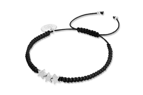 Gotham Black Cord Friendship Style Bracelet with Hematite Stars from Boho Betty - Zarabelle